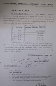 Notification | Sanction of Superior Executive Allowance / Executive Allowance in respect of all Officers of Assembly Secretariat and MPA's Hostel | Balochistan Provincial Assembly Secretariat | June 19, 2020 - allpaknotifications.com