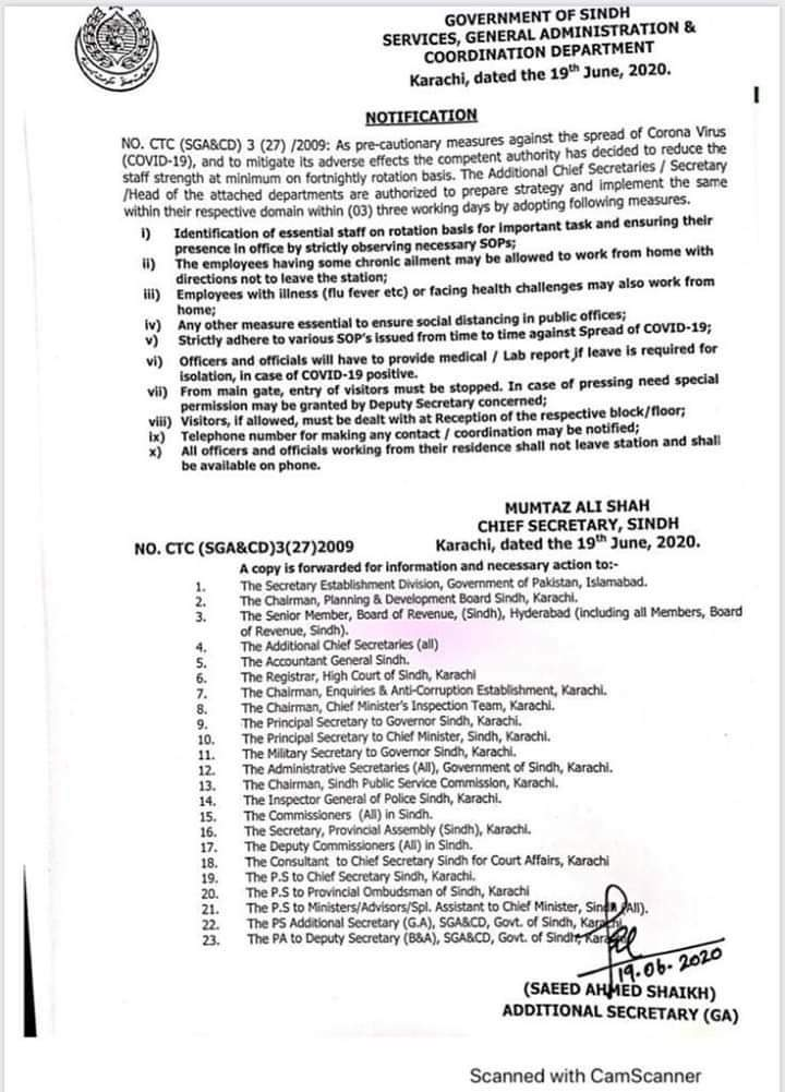 Notification | Reduction of Staff Strength at Minimum on Fortnightly Rotation Basis | Government of Sindh Services, General Administration & Coordination Department | June 19, 2020 - allpaknotifications.com