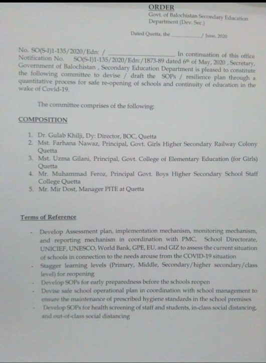 Order | Safe Re-opening of Schools and Continuity of Education in the wake of COVID-19 | Government of Balochistan Secondary Education Department (Dev. Sec:) | June 20, 2020 - allpanknotifications.com