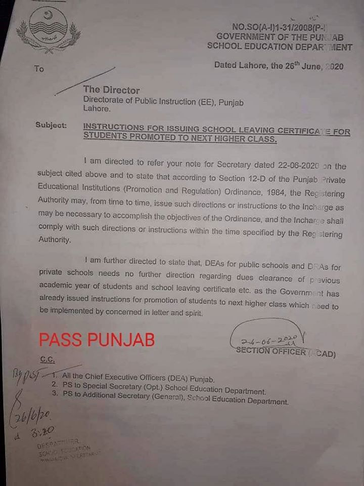Instructions for Issuing School Leaving Certificate for Students Promoted to Next Higher Class | Government of the Punjab School Education Department | June 26, 2020 - allpaknotifications.com