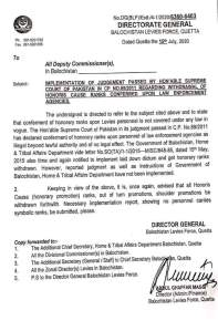 Implementation of Judgement Passed By Hon'able Supreme Court of Pakistan in CP No.89/2011 Regarding Withdrawal of Honoris Cause Ranks Conferred Upon Law Enforcement Agencies | Directorate General Balochistan Levies Force, Quetta | July 15, 2020 - allpaknotifications.com