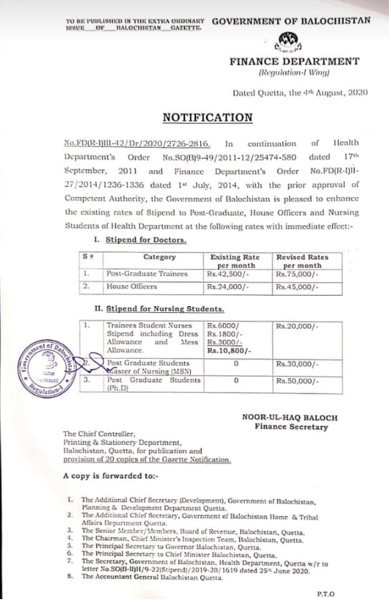 Notification | Increase in the Rates of Stipend to Post-Graduate, House Officers and Nursing Students of Health Department | Government of Balochistan Finance Department | August 04, 2020 - allpaknotifications.com