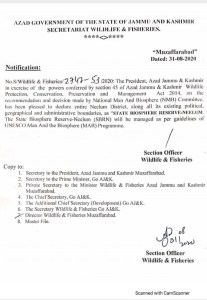 Notification | Declaration of Entire Neelum District as State Biosphere Reserve-Neelum (SBRN) by National Man And Biosphere (NMB) Committee | Azad Government of the State of Jammu and Kashmir Secretariat Wildlife & Fisheries | August 31, 2020 - allpaknotification.com