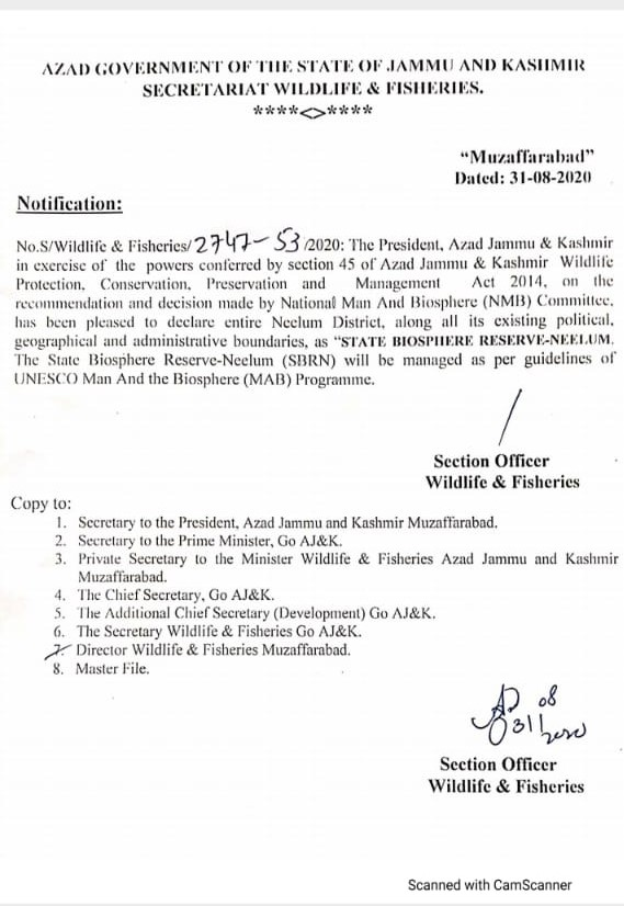Notification | Declaration of Entire Neelum District as State Biosphere Reserve-Neelum (SBRN) by National Man And Biosphere (NMB) Committee | Azad Government of the State of Jammu and Kashmir Secretariat Wildlife & Fisheries | August 31, 2020 - allpaknotifications.com