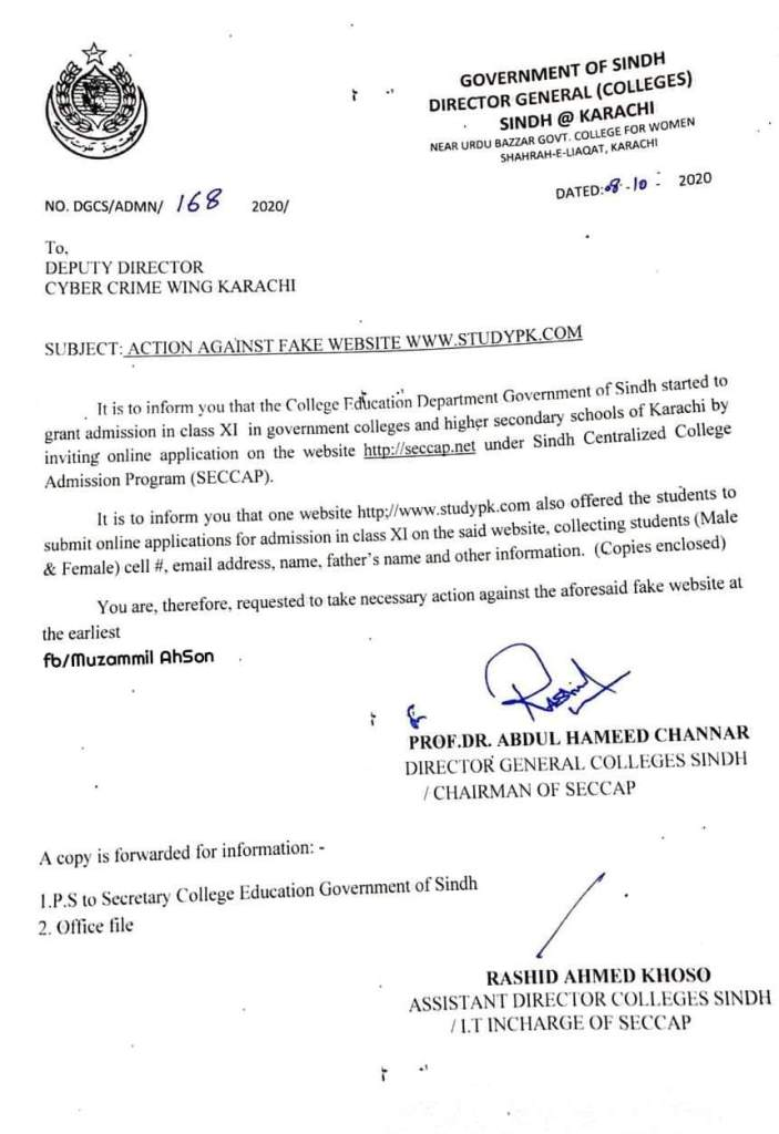 Action Against Fake Website www.STUDYPK.com | Government of Sindh Director General (Colleges) Sindh at Karachi | October 08, 2020 - allpaknotifications.com