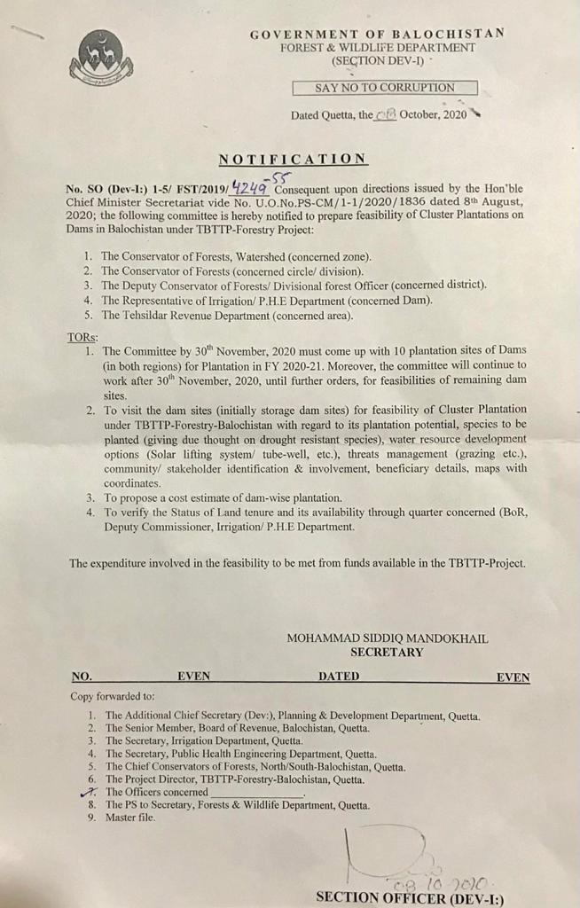 Notification | Committee to Prepare Feasibility of Cluster Plantation on Dams in Balochistan under TBTTP- Forestry Project | Government of Balochistan Forest & Wildlife Department (Section Dev-I) | October 08, 2020 - allpaknotifications.com