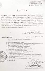 Order | Defreeze Incentive of 50% High-Risk Allowance on the Running Pay of Basic Pay Scale to Bomb Disposal Unit and Officers | Government of Sindh Finance Department | October 08, 2020 - allpaknotifications.com
