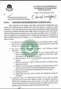 Guidelines for Reimbursement of Medical Bills | Government of Balochistan Health Department | September 03, 2018 - allpaknotifications.com