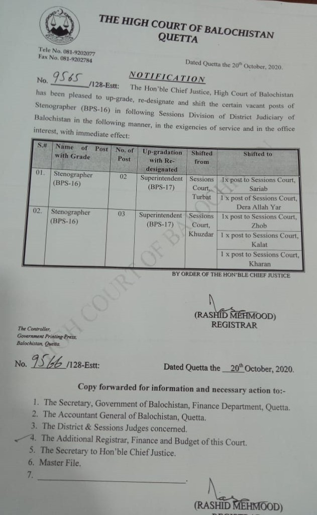 Notification | Upgrading, Re-designating and Shifting of Posts of Stenographer (BPS-16) | The Hight Court of Balochistan Quetta | October 20, 2020 - allpaknotifications.com
