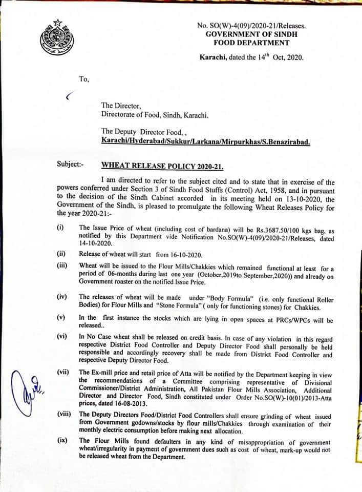 Wheat Release Policy 2020-21   Government of Sindh Food Department   October 14, 2020 - allpaknotifications.com