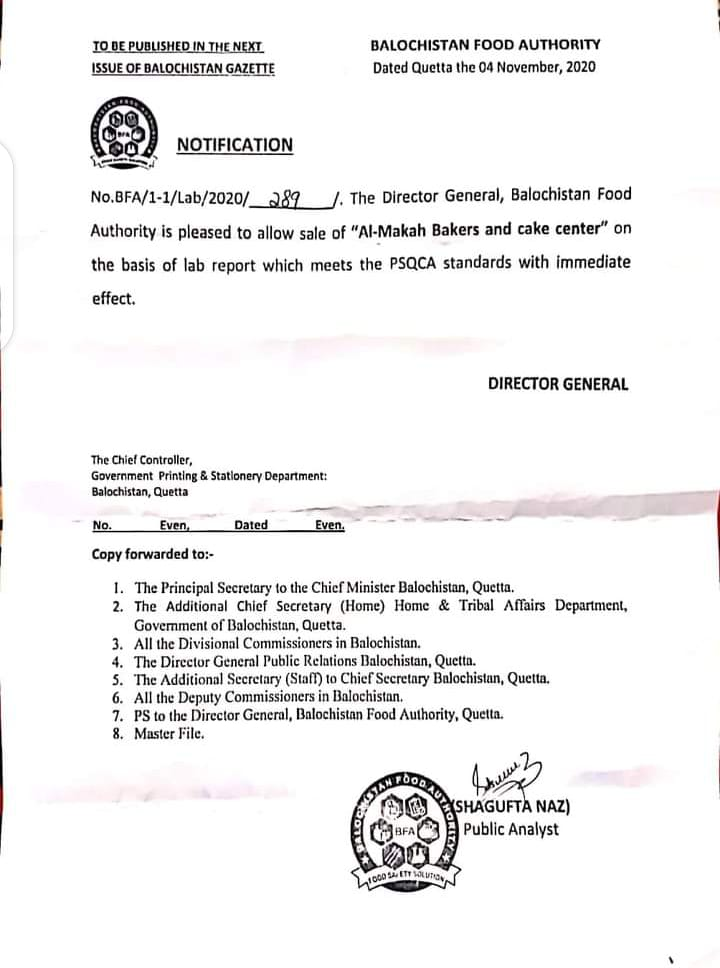 Notification | Lifting of Ban from Al-Makkah Bakers and Cake Center Mastung | Balochistan Food Authority | November 04, 2020 - allpaknotifications.com