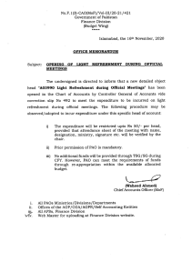 Office Memorandum | Opening of Light Refreshment During Official Meetings | Government of Pakistan Finance Division (Budget Wing) | November 16, 2020 - allpaknotifications.com