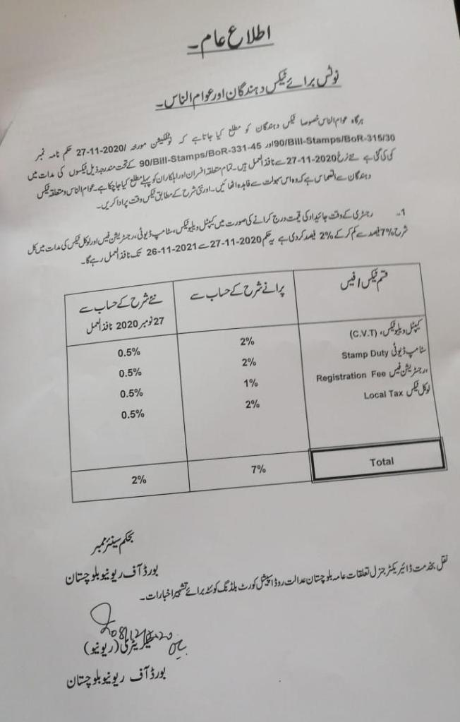 Notice for Tax Payers and General Public | Board of Revenue Balochistan | December 08, 2020