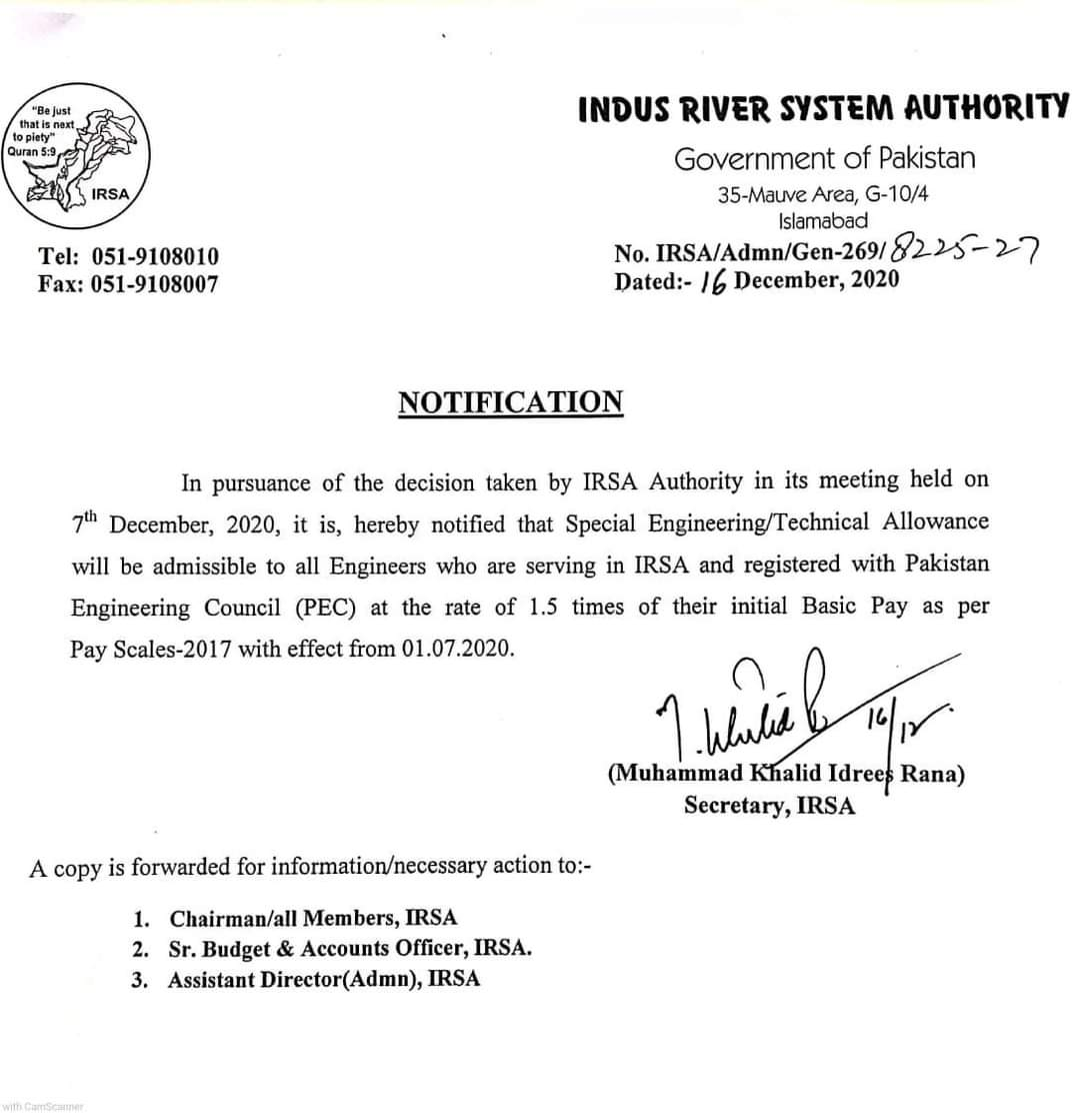 Notification | Special Engineering/Technical Allowance to IRSA Engineers at the rate of 1.5 times of their initial Basic Pay | Indus River System Authority Government of Pakistan | December 16, 2020 - allpaknotifications.com