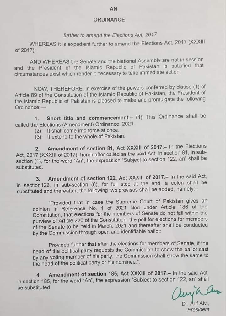 Election (Amendment) Ordinance 2021 | Dr. Arif Alvi (President of Islamic Republic of Pakistan) - allpaknotifications.com