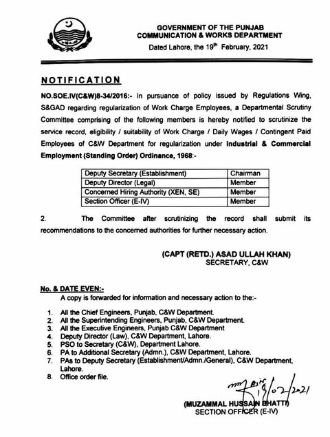 """Guidelines for Implementation of Policy Regarding """"Regularization of Work-Charged / Daily Wages / Contingent Paid Staff"""" In C&W Department 