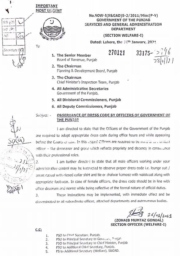 Observance of Dress Code by Officers of Government of the Punjab | Government of the Punjab Services and General Administration Department (Section Welfare-I) | January 26, 2021 - allpaknotifications.com