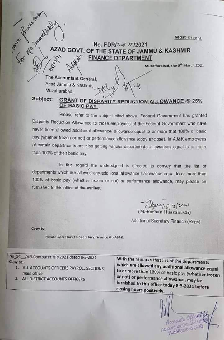 Grant of Disparity Reduction Allowance @ 25% of Basic Pay | Azad Govt. of the State of Jammu & Kashmir Finance Department | March 05, 2021 - allpaknotifications.com