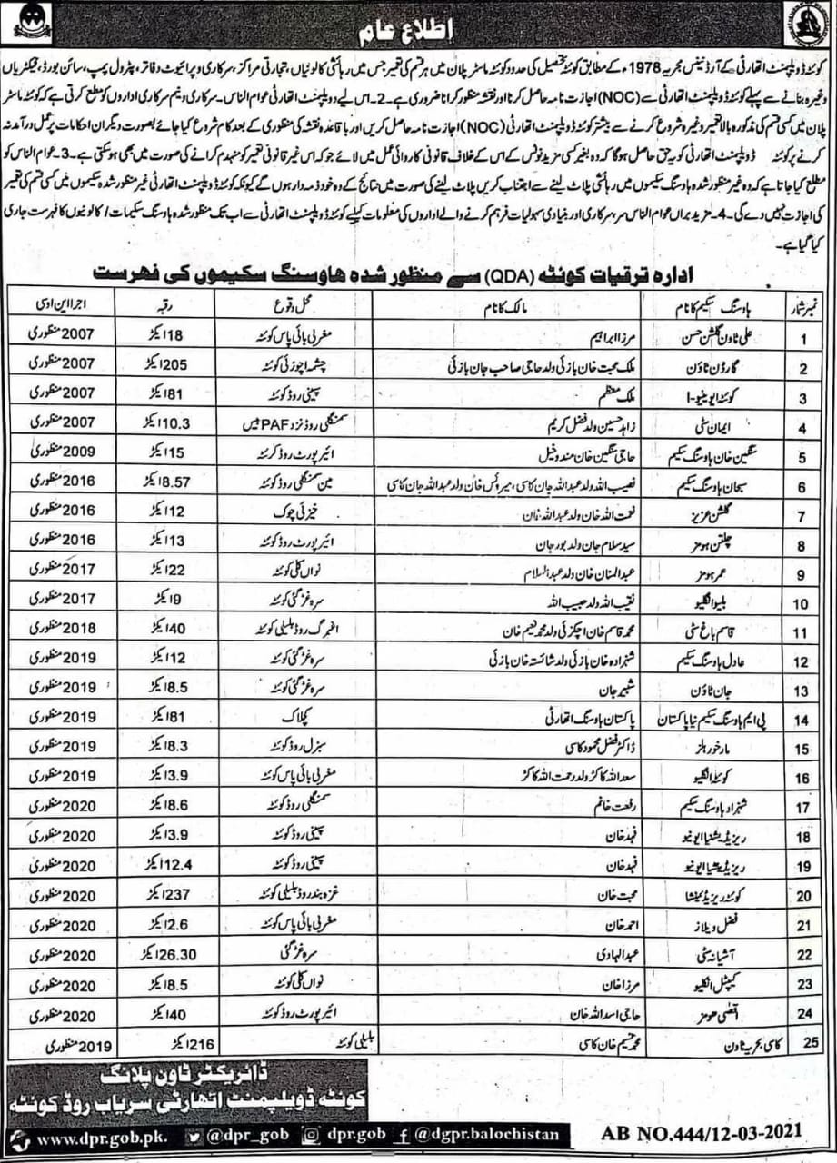 Public Notice | List of Approved Housing Schemes of Quetta | Director Town Planning Quetta Development Authority (QDA) | March 12, 2021