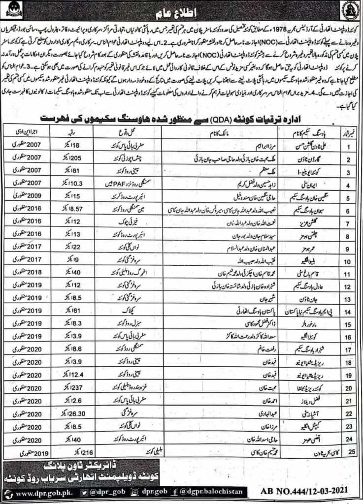 Public Notice | List of Approved Housing Schemes of Quetta | Director Town Planning Quetta Development Authority (QDA) | March 12, 2021 - allpaknotifications.com