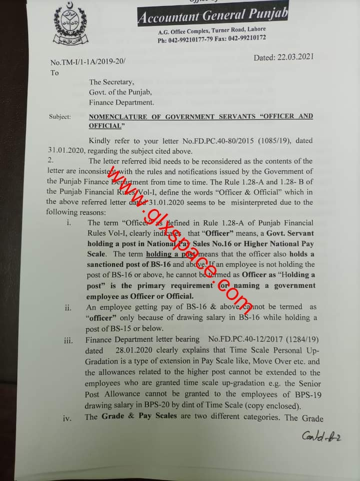 """Nomenclature of Government Servants """"Officers and Official"""" 