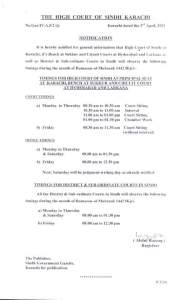 Notification | Timing for Hight Court during the Month of Ramzan-ul-Mubarak | The High Court of Sindh Karachi | April 03, 2021 - allpaknotifications.com