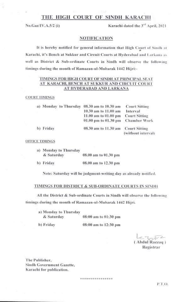 Notification | Timing for Hight Court during the Month of Ramzan-ul-Mubarak | The High Court of Sindh Karachi | April 03, 2021 - allpaknotifications.com