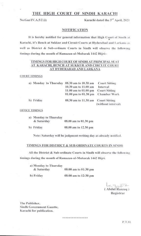 Notification | Timing for High Court during the Month of Ramzan-ul-Mubarak | The High Court of Sindh Karachi | April 03, 2021 - allpaknotifications.com