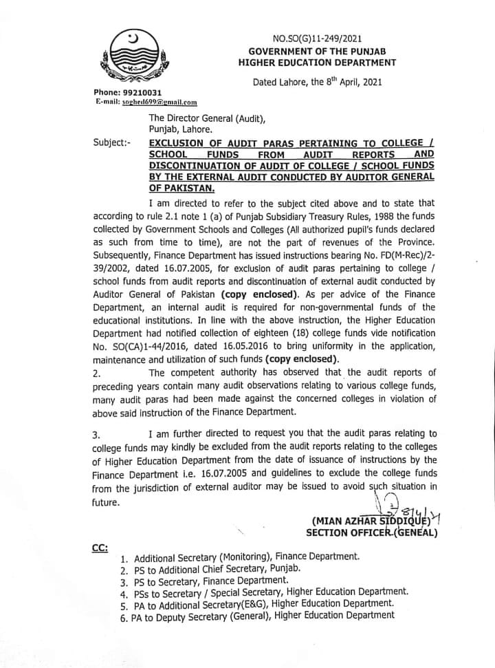 Exclusion of Audit Paras Pertaining to College / School Funds from Audit Reports and Discontinuation of Audit of College / School Funds by the External Audit Conducted by Auditor General of Pakistan | Government of the Punjab Higher Education Department | April 08, 2021 - allpaknotifications.com