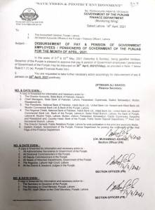 Disbursement of Pay & Pension of Government Employees / Pensioners of Government of the Punjab for the Month of April 2021 | Government of the Punjab Finance Department (Monitoring Wing) | April 14, 2021 - allpaknotifications.com