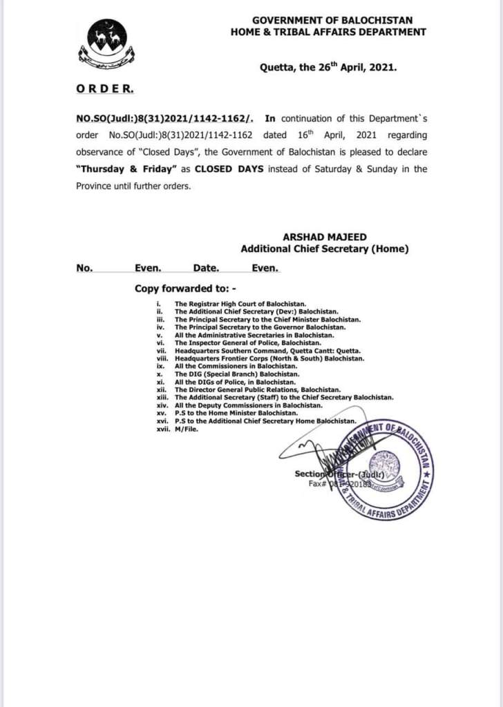 Thursday and Friday as Closed Days instead of Saturday and Sunday | Government of Balochistan Home & Tribal Affairs Department | April 26, 2021 - allpaknotifications.com
