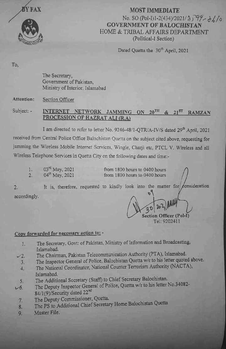 Internet Network Jamming on 20th and 21st Ramzan Procession of Hazrat Ali (R.A) | Government of Balochistan Home & Tribal Affairs Department (Political-I Section) | April 30, 2021 - allpaknotifications.com