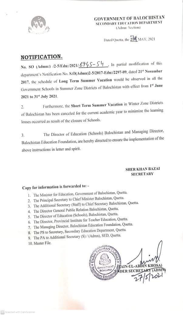 Notification   Long Term Summer Vacation in Summer Zone and Short Term Summer Vacation in Winter Zone   Government of Balochistan Secondary Education Department (Admn: Section)   May 27, 2021 - allpaknotifications.com
