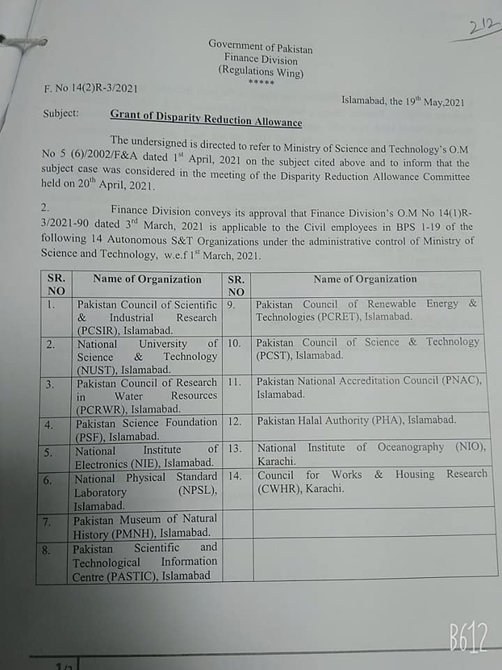 Grant of Disparity Reduction Allowance   Government of Pakistan Finance Division (Regulation Wing)   May 19, 2021 - allpaknotifications.com