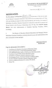 Notification | Reopening of all Government and Private Schools in the Province of Balochistan | Government of Balochistan Secondary Education Department (Admn: Section) | 21 May, 2021 - allpaknotifications.com