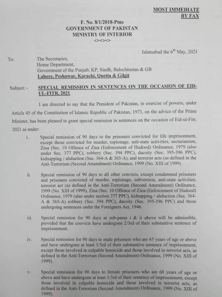 Special Remission in Sentences on the Occasion of Eid-Ul-Fitr, 2021 | Government of Pakistan Ministry on Interior | May 06, 2021 - allpaknotifications.com