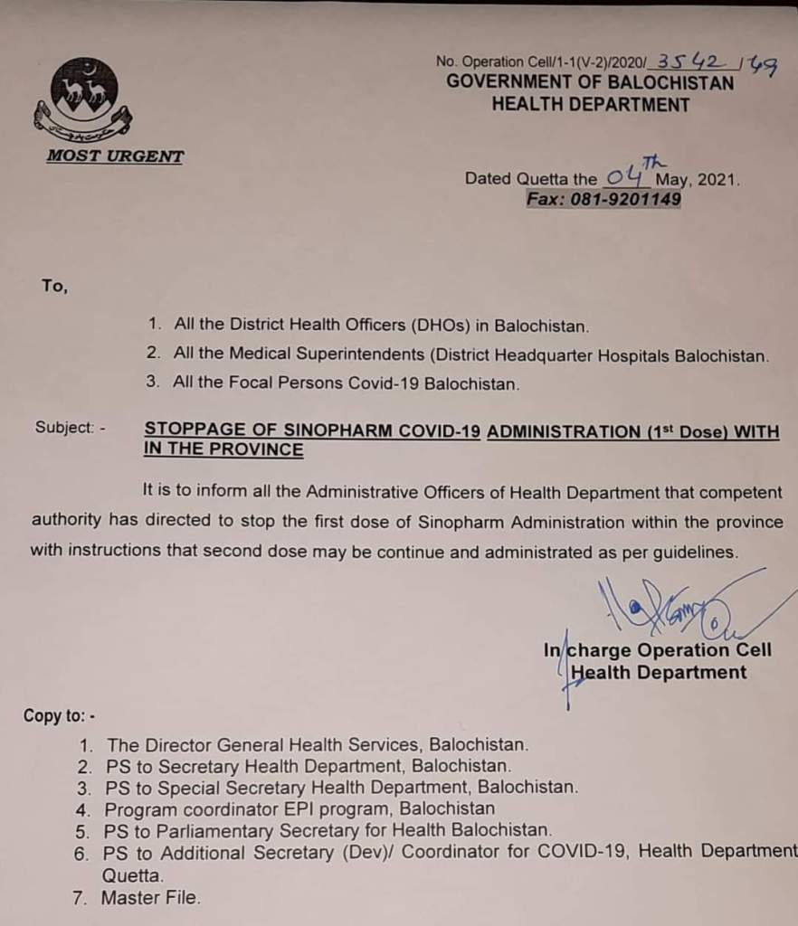 Stoppage of Sinopharm COVID-19 Administration (1st Dose) within the Province | Government of Balochistan Health Department | May 04, 2021 - allpaknotifications.com