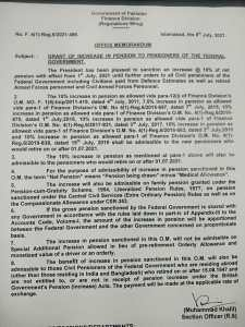 Office Memorandum | Grant of Increase in Pension to Pensioners of the Federal Government | Government of Pakistan Finance Division (Regulation Wing) | July 08, 2021 - allpaknotifications.com