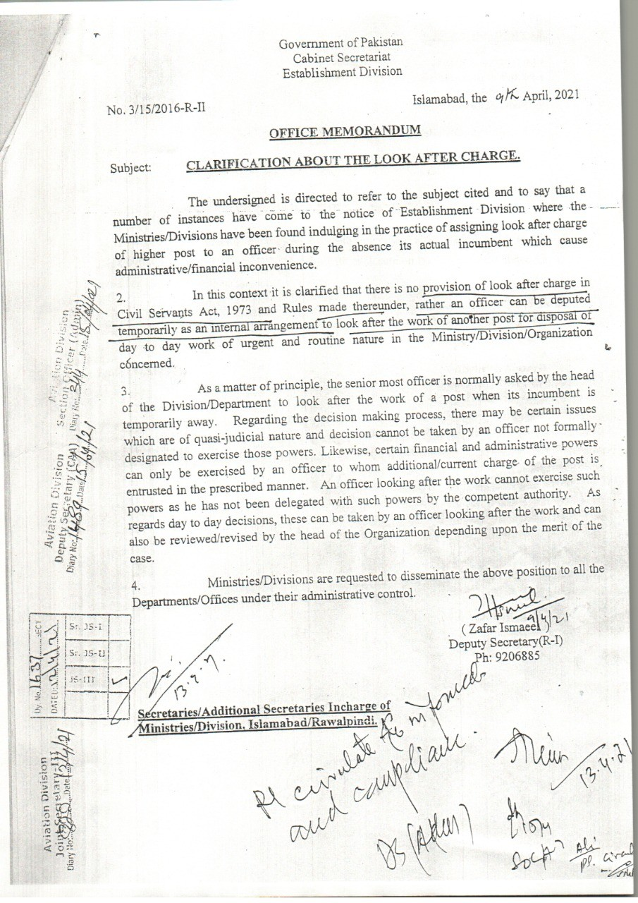 Office Memorandum | Clarification about the Look After Charge | Government of Pakistan Cabinet Secretariat Establishment Division | April 09, 2021 - allpaknotifications.com