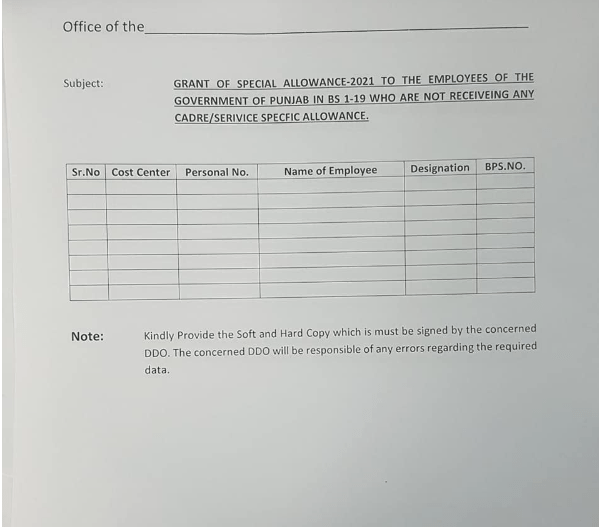 Blank Change Form for Grant of Special Allowance - 2021 - allpaknotifications.com