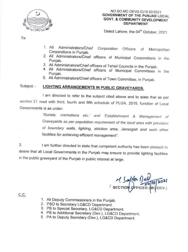 Lighting Arrangements in Public Graveyards   Government of the Punjab Local Govt. & Community Development Department   October 04, 2021 - allpaknotifications.com