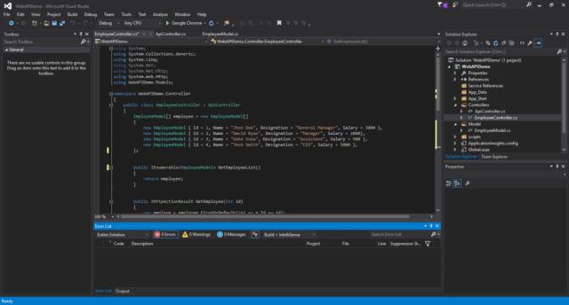 Visual Studio 2015 Community Edition Editor