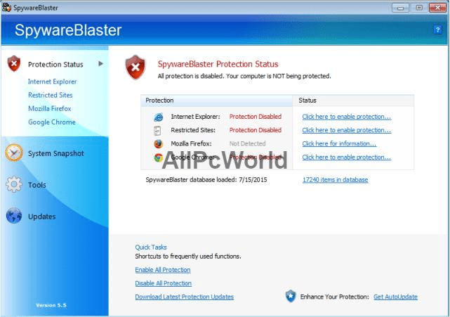 SpywareBlaster 5.5 User Interface