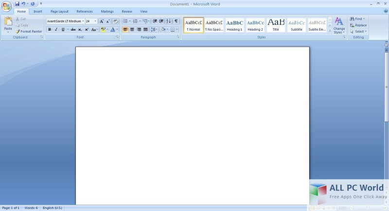 Microsoft Office 2007 Portable Word User Interface