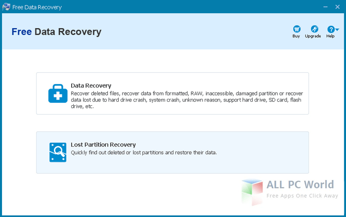 ThunderSoft Free Data Recovery 5.0 User Interface