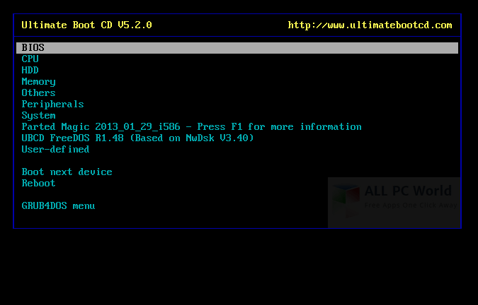 Ultimate Boot CD 5.3.6 User Interface