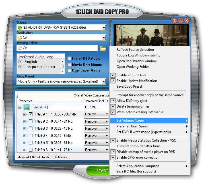 1Click DVD Copy Pro 5.1.1.5 User Interface