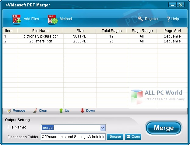 4Videosoft PDF Merger 3.0 User Interface
