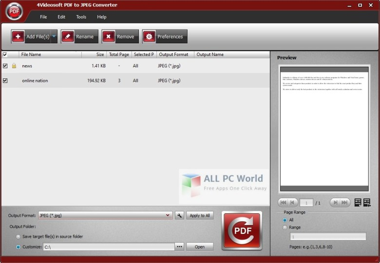 4Videosoft PDF to JPEG Converter 3.1 User Interface