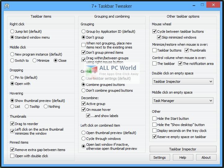 7+ Taskbar Tweaker 5.2.1 User Interface